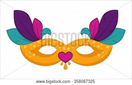 Masquerade Disguise Clothing Attribute Masque With Feathers Decor Vector