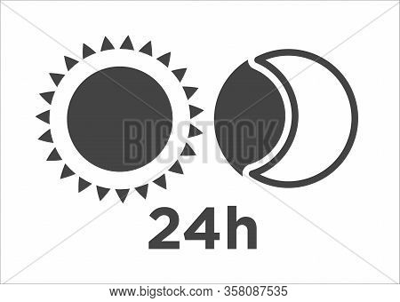 Silhouette Of Sun And Moon Circle Icon 24h Time Element Vector