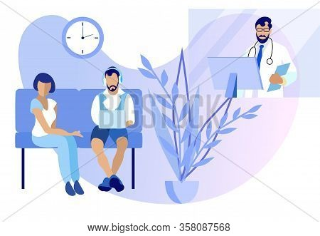 Online Medicine And Doctors Consultation Via Internet. Cartoon Woman Man Sitting On Couch. Guy In He