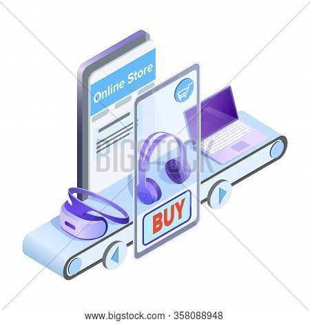 Online Store Mobile App Isometric Illustration. Internet Electronics Supermarket Advertising Design