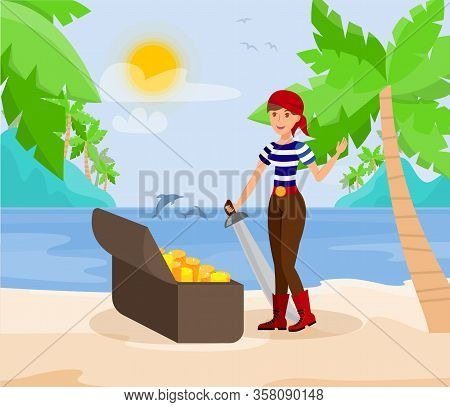 Pirate Lady With Sword Flat Color Illustration. Young Woman In Bandana And Striped T Shirt Cartoon C