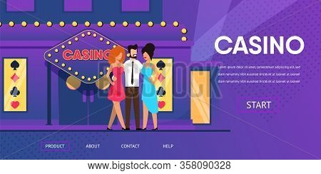 Rich Man With Beautiful Woman Near Casino Entrance. Gambling House Neon Lights Exterior. Lucky Winne