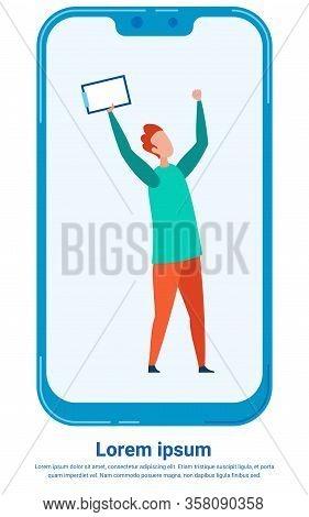 Happy, Joyful Man Celebrating On Phones Screen. Person Holding Clipboard. Project Success, Finish Ve