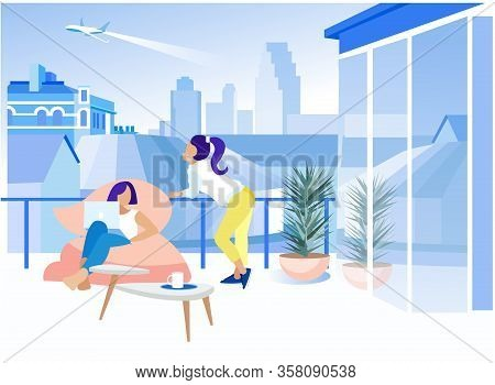 Vector Cartoon Businesswoman Relaxing Working On Laptop Outdoor Balcony Terrace In Business Coworkin