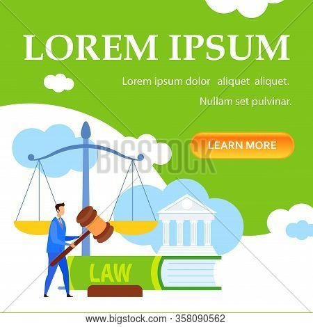 Law Lessons, Courses, Online Class Landing Page. Jurisprudence Science Free Webinar Web Banner With