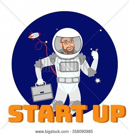 Global Startup Support Social Media Flat Banner. Entrepreneur In Space Suit In Open Space Cartoon Ch