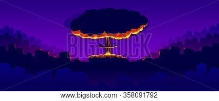 Nuclear Explosion Vector Illustration, Apocalypse Theme, World War 3, Atomic Bomb Mushroom Armageddo
