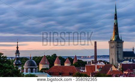 Aerial View Of Tallinn Old Town, Estonia. The Classic Iconic View Of The City. Tallinn City Wall