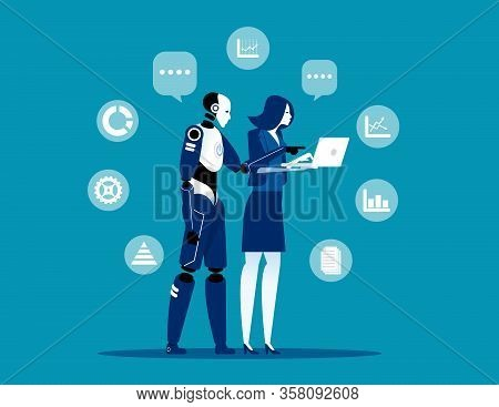 Robot And Human Working At Office. Concept Business Artificial Intelligence Technology Vector Illust