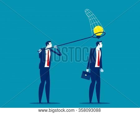 Thief Business Partner Steals Ideas For Thinking Colleague. Concept Business Plagiarism Vector Illus