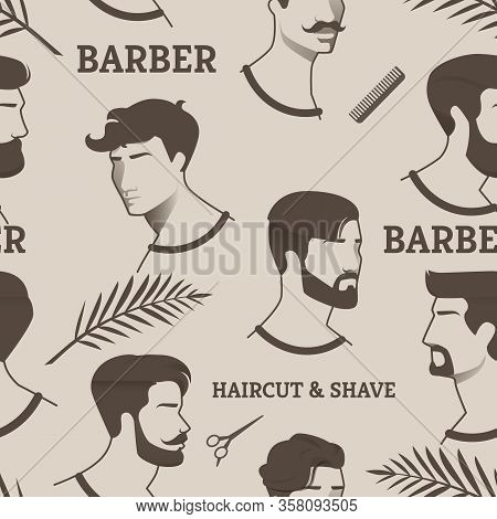 Pattern Barber Haircut And Shave With Scissors, Comb. Drawings Young Men, But With Different Haircut