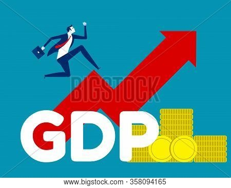 Government Budget. Concept Business Growth Gdp Vector Illustration, Gross Domestic Product, Flat Car