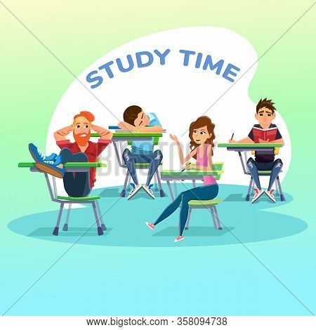 Male And Female, Busy And Lazy, Clever And Stupid Students On Lesson At University Or School Class.