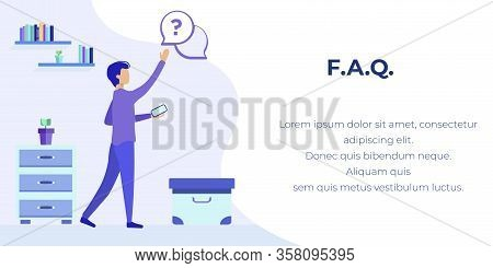 Faq Service Advertising Text Banner. Mobile Frequently Asked Questions Support Application. Cartoon