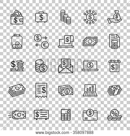 Money Finance Icon Set In Flat Style. Payment Vector Illustration On White Isolated Background. Curr