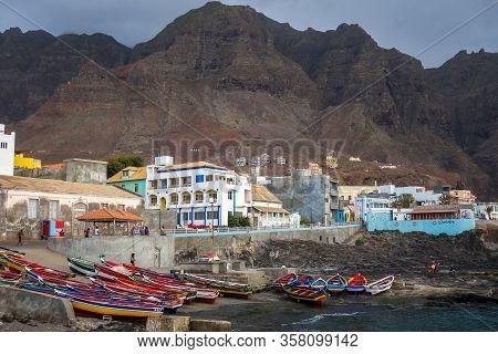 Ponta Do Sol/cape Verde - August 12, 2018 - City Harbor, Cliffs And Ocean View In Santo Antao Island
