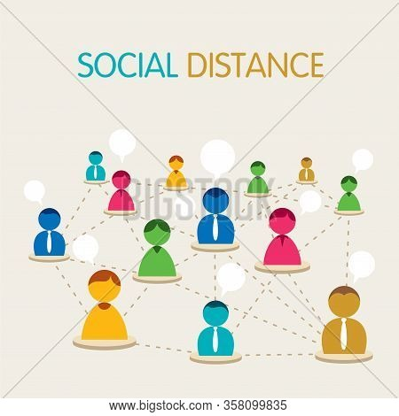Social Distancing Concept , Social Distancing In Public, People Practice Social Distancing To Protec