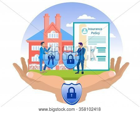 Insurance Agent And Client Reliably Insure Home. Insurance Policy. Vector Illustration. Reliable Pro