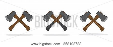 Set Of Crossed Axes Isolated. Vector Ax Icons In Flat Design. Forester Ax Icon