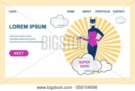 Woman In Super Hero Costume And Cat Mask Stand On Sun Rays And Clouds Background. Blockbuster Presen