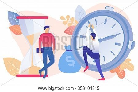 Cartoon People With Sandglass Timer Vector Illustration. Businessman Watch Man Stop Moving Hands On