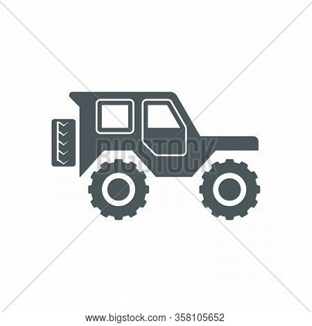 Vector Icon Design Of Off-road Vehicle On White.