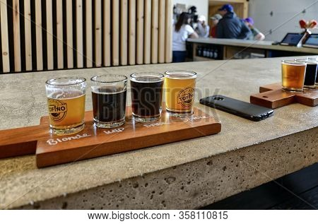Tofino, Bc, Canada - June 19, 2018. Tofino Brewing Company Offers Local Unique Beers. Tasting Flight