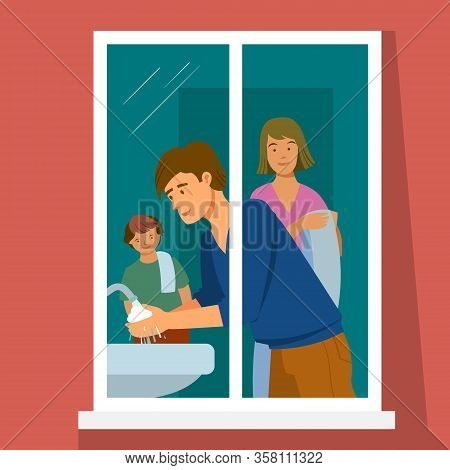 The Family Is In Home Quarantine. In The Window You Can See My Father Washing His Hands