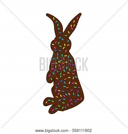 Sprinkle With Grains Of Desserts. Chocolate Egg Sprinkled With Granular Isolated On White Background