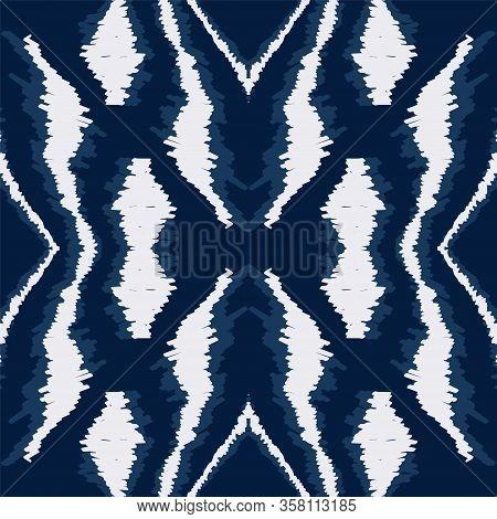 Aquamarine Tribal Drawn Vector Seamless Pattern. Aztec Abstract Carpet Pattern. Vintage Navajo Desig