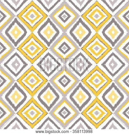 Gray Shibori Boho Vector Seamless Pattern. Drawing Chevron Texture. Indian Fashion Tie Dye Backgroun