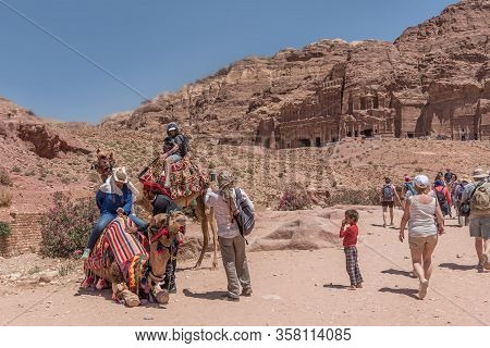 Petra, Jordan - 23.04.2018: Bedouin Camel In Petra Jordan. Tourist Attraction. Travel Photography