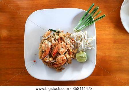 Shrimp Noodles Or Fried Noodles, Thai  Noodles Or Pad Thai