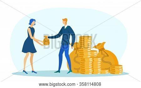 Busimessman With Big Money Piles And Big Sacks Giving Small Bag To Woman Employee Flat Cartoon Vecto