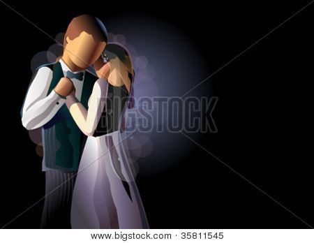 couple dancing in the wedding night, vector illustration