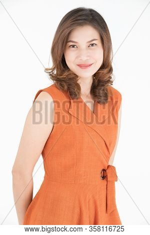 Portrait Of 40s Middle Aged Beautiful  Asian Woman On White Background.