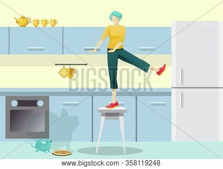 Unhappy Scared Woman Panic Screaming Standing On Chair In Kitchen. Girl Get Fright Of Mouse Or Rat,