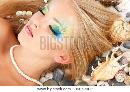 teenager girl mermaid beautiful make-up poster