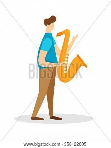 Musician Male Character Playing Saxophone Isolated On White Background. Man With Horn, Young Instrum