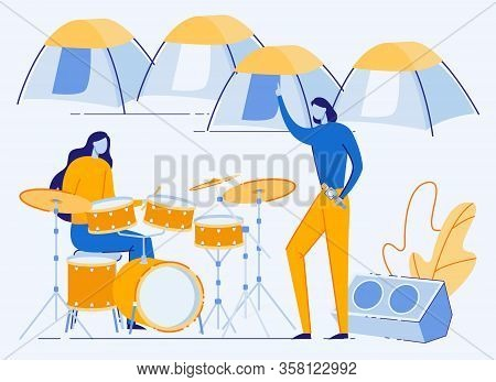 Outdoor Summer Musical Festival Event. Young Musicians Performing In Camp With Tents During Summerti