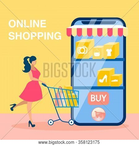 Online Shopping Social Media Banner Vector Concept. Satisfied Customer With Cart Cartoon Character.