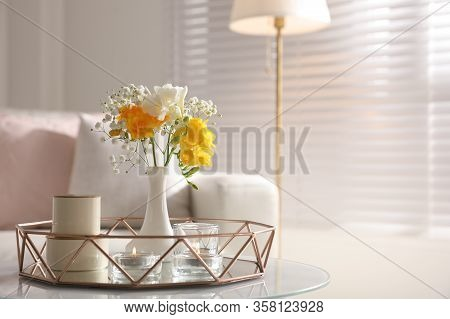 Beautiful Bouquet With Spring Freesia Flowers In Light Room, Space For Text