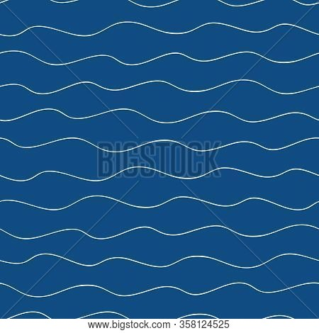 Vector Abstract Hand Drawn Doodle Ocean Waves. Seamless Hand Drawn Pattern On Navy Blue Background.