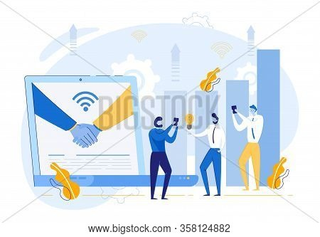 Handshake On Laptop Monitor And Business People Cartoon Characters Rejoice In Bargain, Successful De