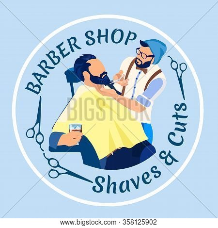 Professional Hair Stylist Cutting Beard To Man Customer Sitting In Armchair With Alcohol Drink In Gl