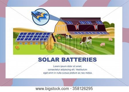 Solar Batteries In Agriculture Banner. Animal Farm With Photovoltaic Panels On Roof Vector Illustrat