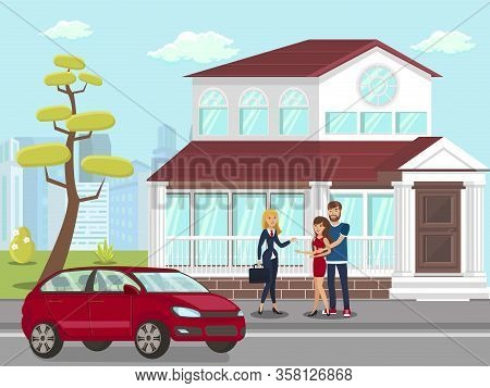 Realtor With Property Buyers Flat Illustration. Car At New Countryside House Front Yard. Suburbs Eco