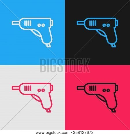 Pop Art Line Electric Hot Glue Gun Icon Isolated On Color Background. Hot Pistol Glue. Hot Repair Wo