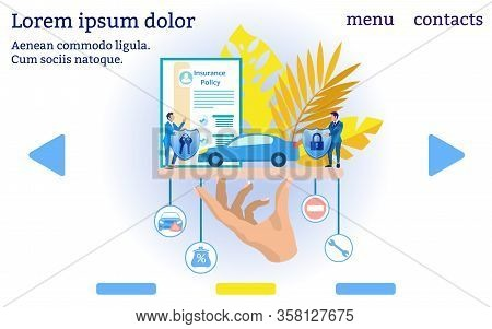 Insurance Agent And Car Insurance. Website Menu. Insurance Policy. Vector Illustration. Reliable Pro