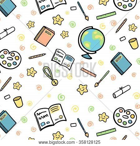 School Supplies And School Subjects Vector Illustration Pattern.